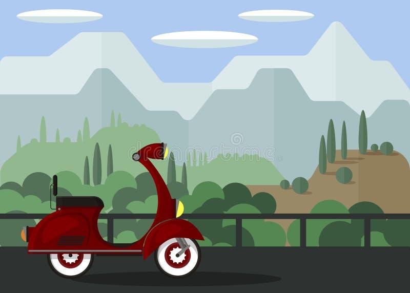 Landskap Röd sparkcykel på bron mot bakgrunden av berg och grön vegetation Natur vektor illustrationer