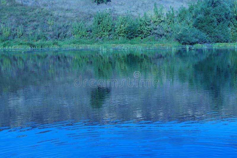 Landskap reflekterat i en flod royaltyfria bilder