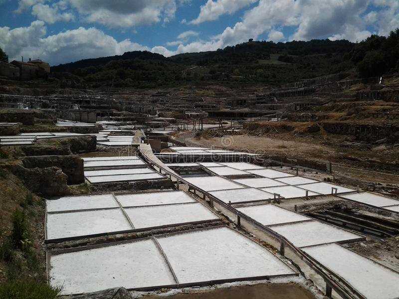 Landskap Salt dal Añana royaltyfri bild