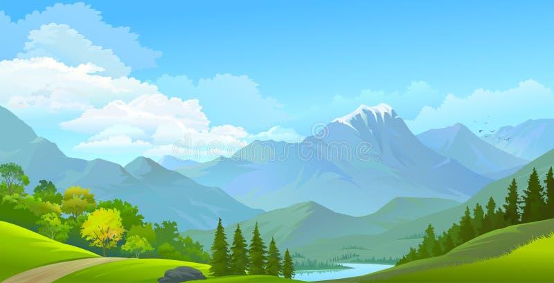 Landskap sikten av snö täckte berg, gröna ängar och en flod stock illustrationer