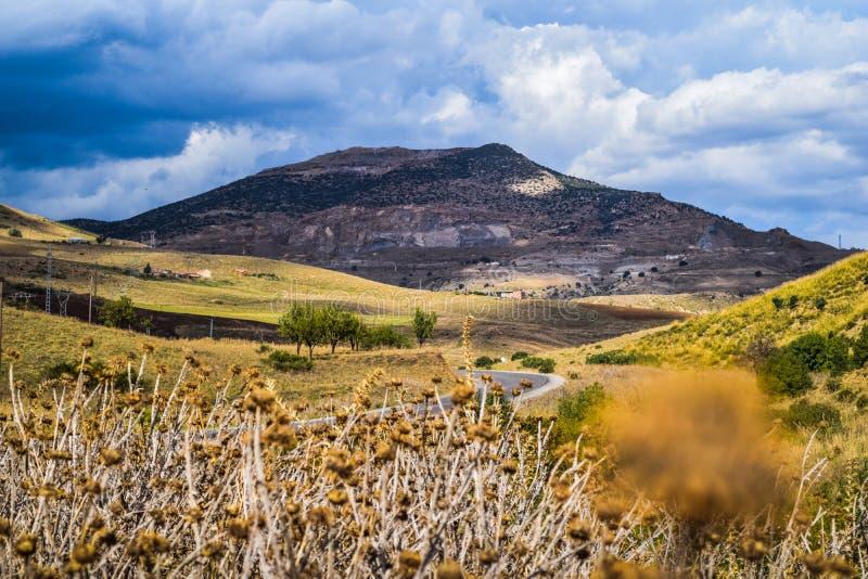 Landskap sikten av thniet el hade berget i tissemsiltwilayaen, Algeriet på en härlig 2018 oktober dag fotografering för bildbyråer