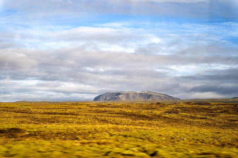 Landskap sikten med gräsfältet i reykjavik, Island höstlandskap på molnig himmel Väder och klimat natur och arkivfoto