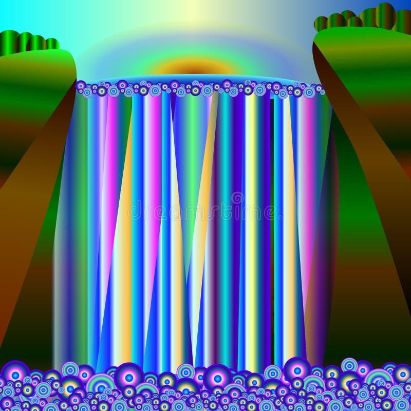 Landskap - soluppgång över en vattenfall vektor illustrationer