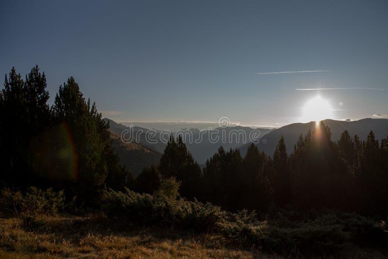 landskap Sunhine i Casamanya, Andorra royaltyfria bilder