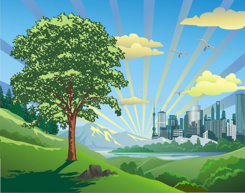 Landskap-tidigmorgon över staden vektor illustrationer