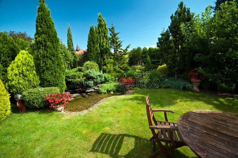 Landskap trädgård i sommar