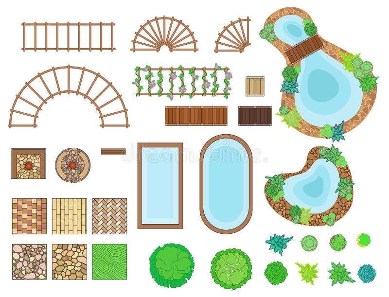 Landskap trädgårds- beståndsdelar vektor illustrationer
