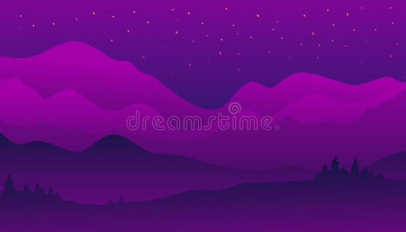 Landskapbakgrund, härlig sikt, naturpanorama, nattstjärnor himmel, bergskog och kullar också vektor för coreldrawillustration stock illustrationer
