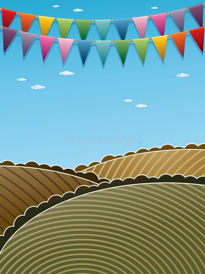 Landskapbakgrund med bunting stock illustrationer