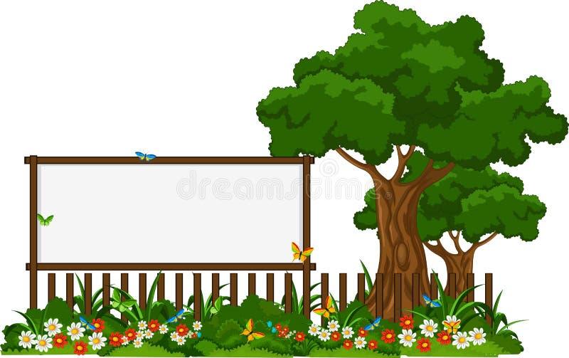 Landskapbakgrund med det tomma tecknet royaltyfri illustrationer
