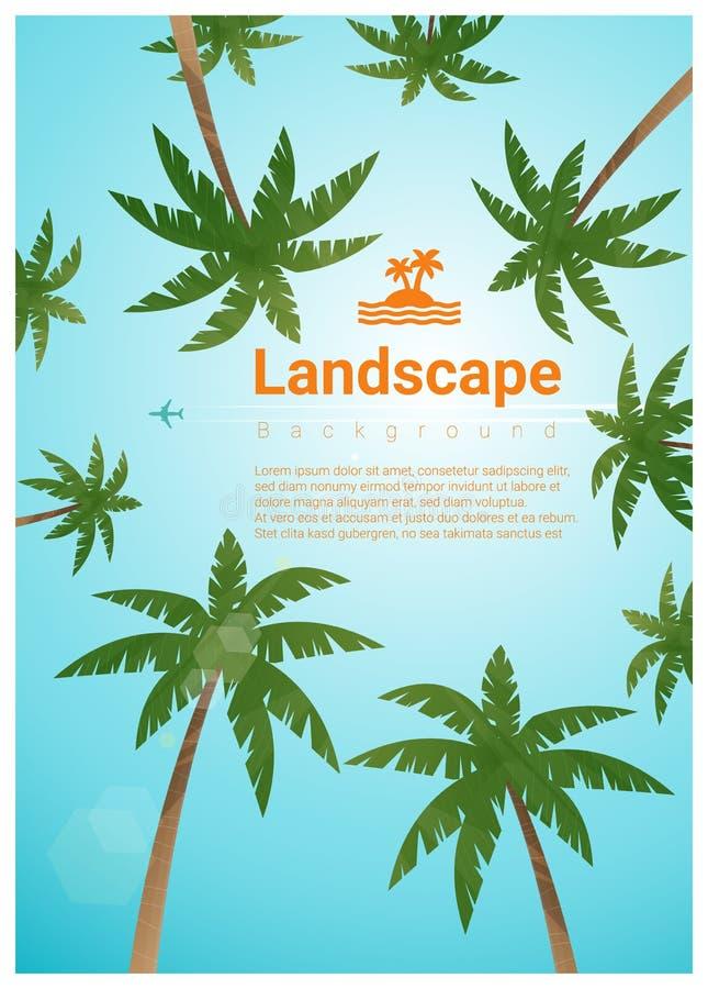 Landskapbakgrund med palmträd på den tropiska stranden stock illustrationer