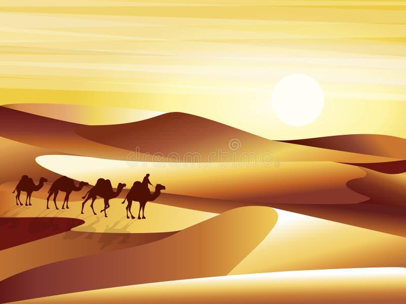 Landskapbakgrundsöken med dyn, barkhans och husvagnen av kamelvektorillustrationen stock illustrationer