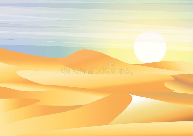 Landskapbakgrundsöken med dyn, barkhans och husvagnen av kamelvektorillustrationen i plan stil vektor illustrationer