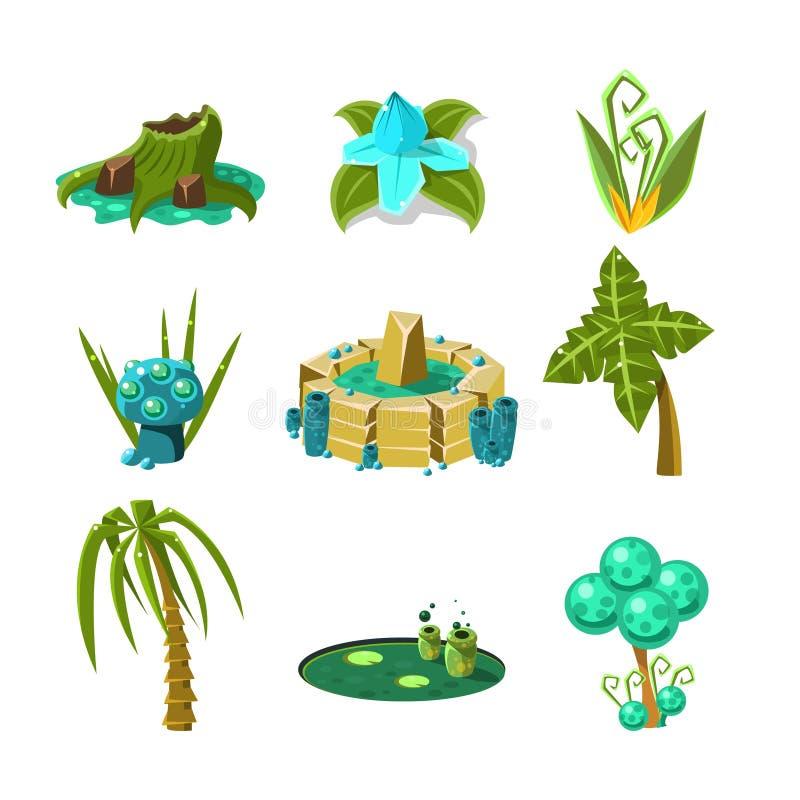 Landskapbeståndsdeluppsättning royaltyfri illustrationer