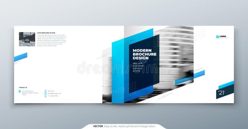 Landskapbroschyrdesign Blå mallbroschyr för företags affär, rapport, katalog, tidskrift Modern broschyrorientering royaltyfri illustrationer