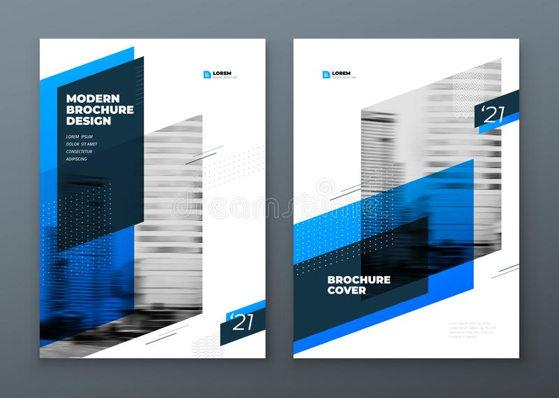 Landskapbroschyrdesign Blå mallbroschyr för företags affär, rapport, katalog, tidskrift Modern broschyrorientering vektor illustrationer