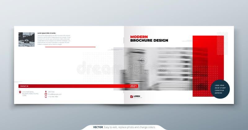 Landskapbroschyrdesign Röd mallbroschyr för företags affär, rapport, katalog, tidskrift Modern broschyrorientering stock illustrationer