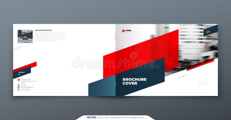 Landskapbroschyrdesign Röd mallbroschyr för företags affär, rapport, katalog, tidskrift Modern broschyrorientering vektor illustrationer