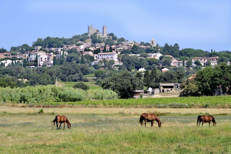 Landskapby av Grimaud i Frankrike fotografering för bildbyråer