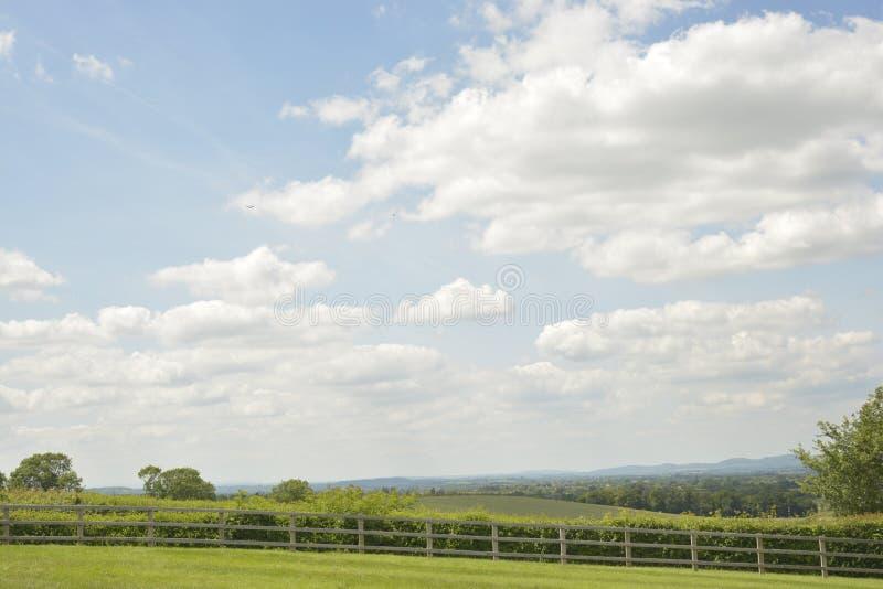 Landskape de pré, vallée verte et ciel bleu avec les nuages blancs en Angleterre photo stock
