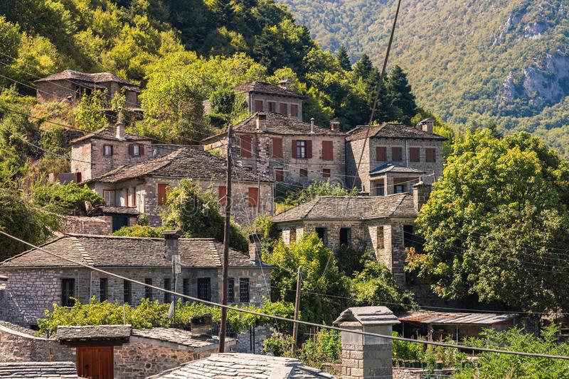 Traditional house and village in the mountain in Greece in the Zagoria region. National park of Pindus mountain stock image