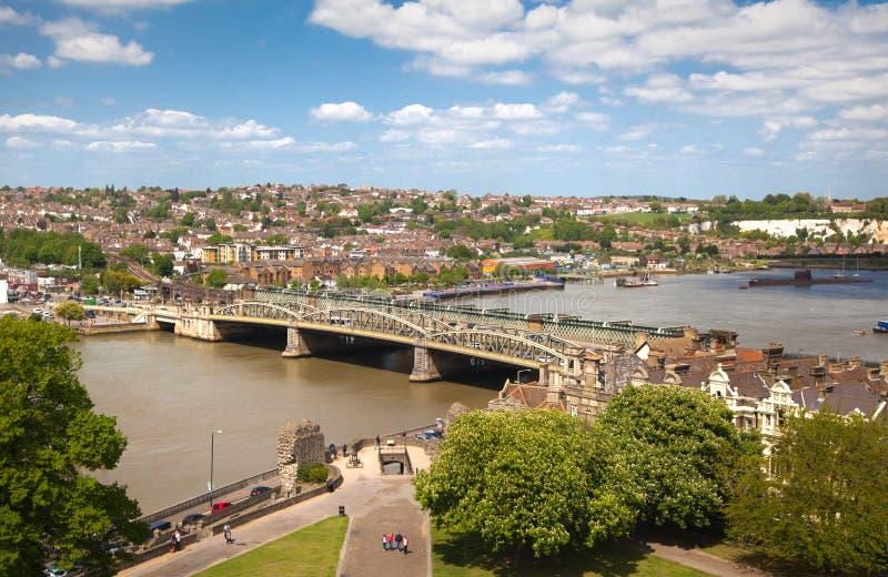 Landskapet av den Rochester staden inkluderar omkring floden Kent och yachtklubban arkivbilder