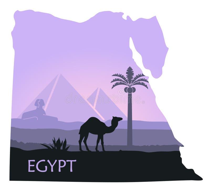 Landskapet av Egypten med en kamel, pyramiderna och sfinxen i form av översikter vektor illustrationer