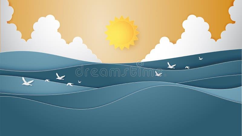 Landskapet av havvattenvågen med sol-, cloudscape- och flygseagulls skyler över brister klippt stil vektor illustrationer