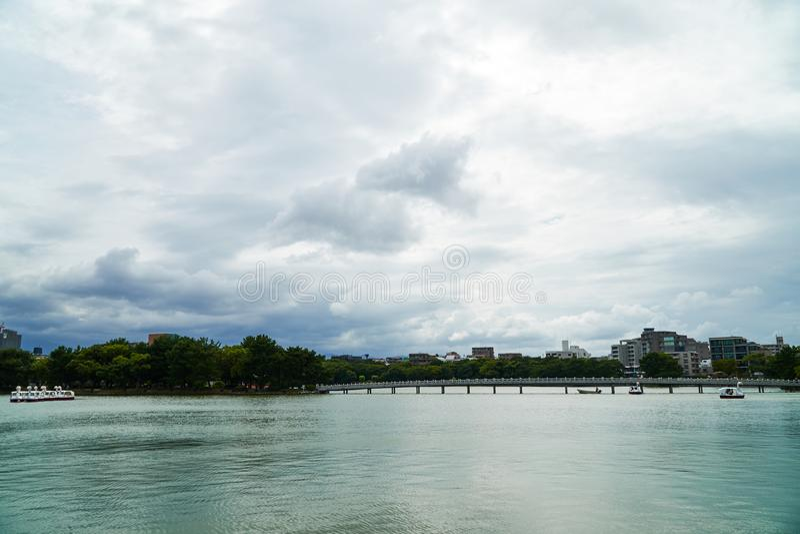 Landskapet av Ohori parkerar royaltyfri bild