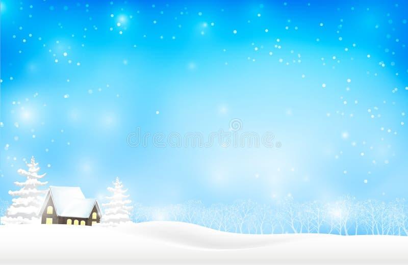 Landskapet av vinterträdet och hussnö faller stock illustrationer