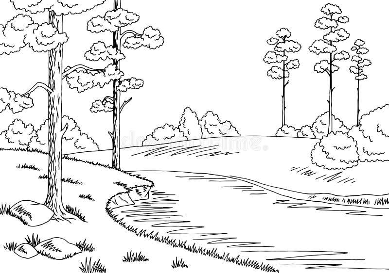 Landskapet för svart för skogfloddiagrammet skissar det vita illustrationen vektor illustrationer
