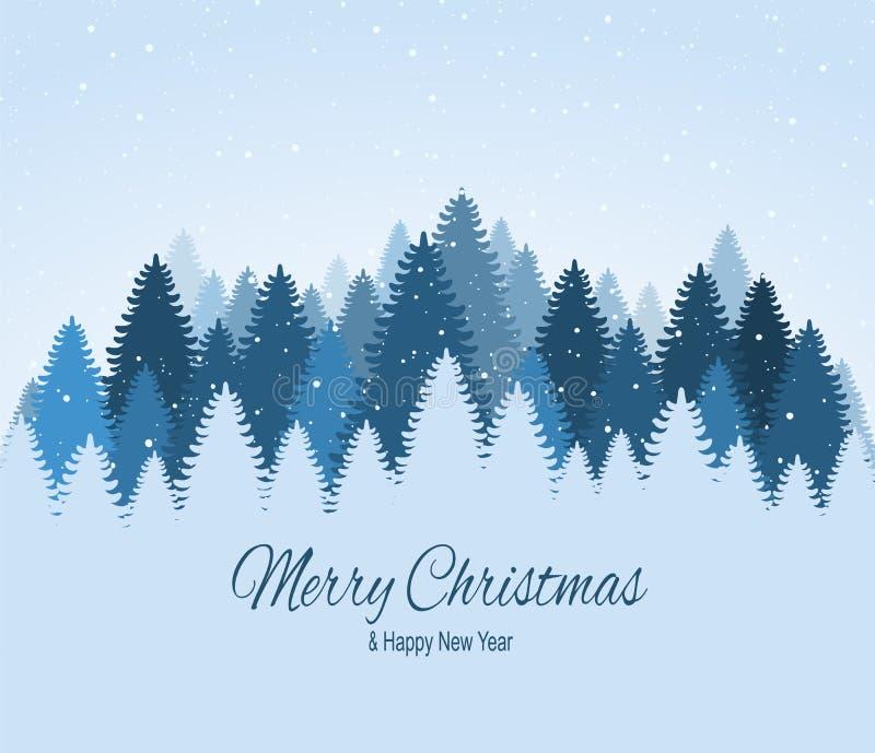 Landskapet med blått snöig sörjer, granar, barrskogen, fallande snö Glad jul för ferievinterskog och lyckligt nytt år vektor illustrationer