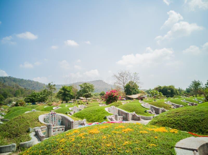 Landskapet Qingming Festival eller Tomb Sweeping day i Saraburi, Thailand royaltyfri fotografi