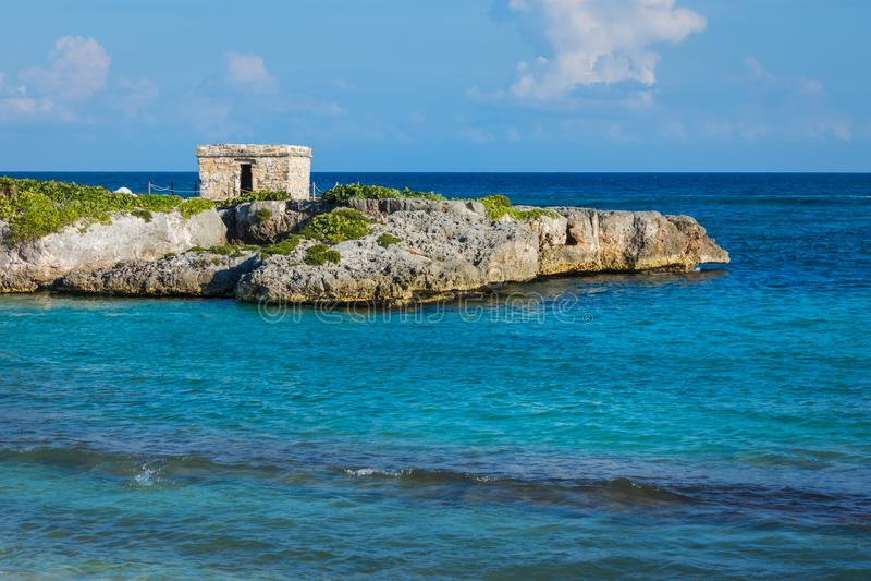 Landskapet, seascape av den karibiska kusten och Mayan fördärvar Quintana Roo Mexico, Cancun, Riviera Maya arkivfoto