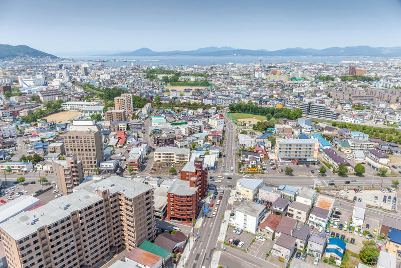 LandskapHakodate stad från det Goryokaku tornet arkivfoton