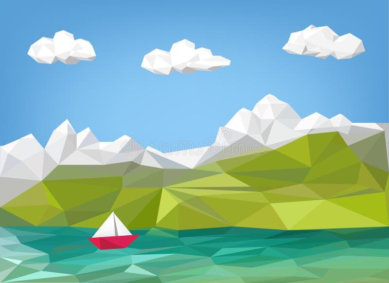 Landskapillustration - berg, sjö och segelbåt låga pol vektor illustrationer
