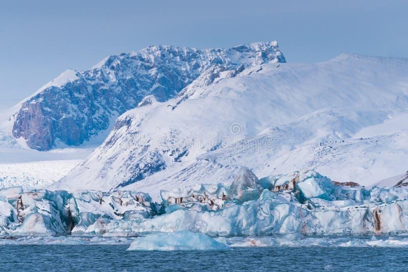 Landskapisnatur av glaciärbergen av himmel för solnedgång för dag för vinter Spitsbergen Longyearbyen Svalbard för arktiskt hav p royaltyfri fotografi