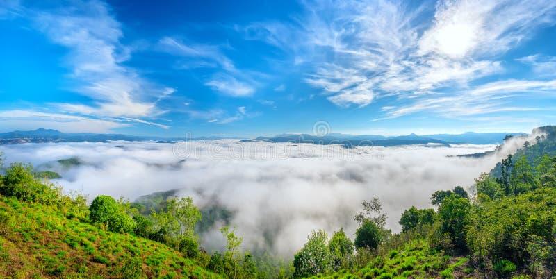 Landskapmorgondimma täckte dalen royaltyfria foton