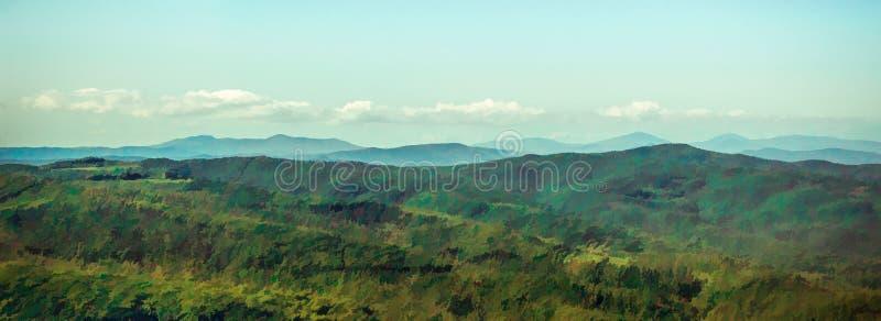 Landskappanoramautsikt av en Tuscan dal royaltyfri illustrationer