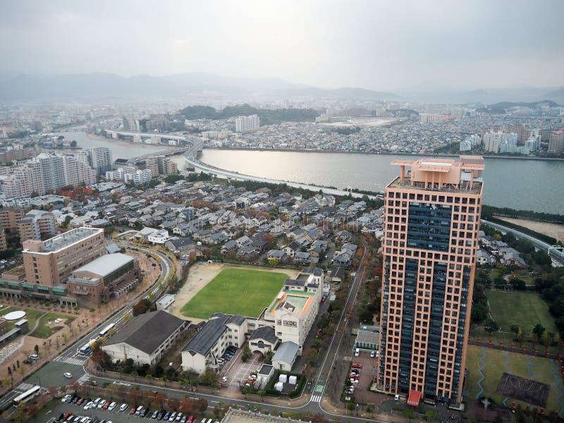 Landskapsikt av den fukuoka staden från det fukuoka tornet royaltyfri fotografi