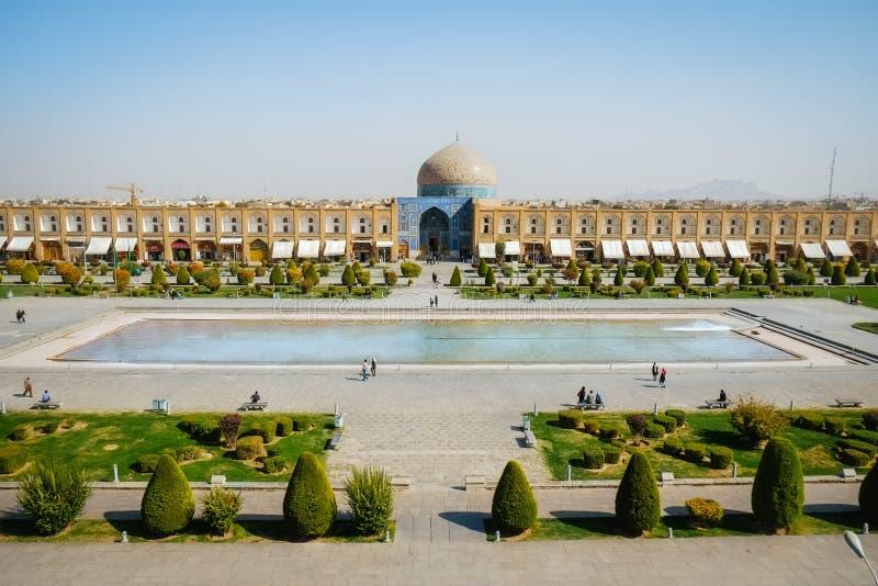 Landskapsikt av den Naqsh-e Jahan fyrkanten eller Meidan Emam Isfahan Iran arkivfoto
