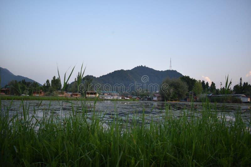 Landskapsikt av ett berg från Dal sjön, Srinagar, Jammu and Kashmir, Indien arkivbilder