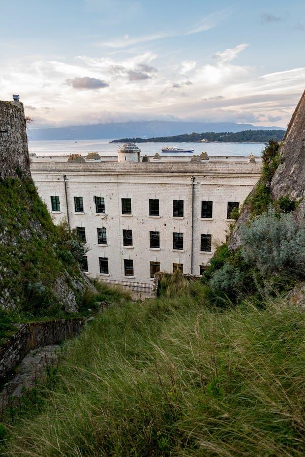 Landskapsikt från det Korfu fortet, vårdag royaltyfri fotografi