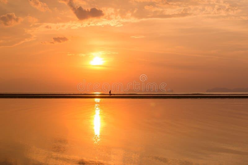 Landskapsikt på stranden på solnedgången Abstrakt bakgrund av naturen i sommar Färgrik himmel och moln med reflexion över vatten royaltyfri foto