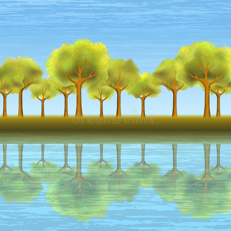 landskapsommartree royaltyfri illustrationer