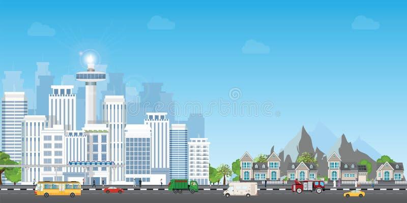 Landskapstad med stora moderna byggnader och förort med privata hus stock illustrationer