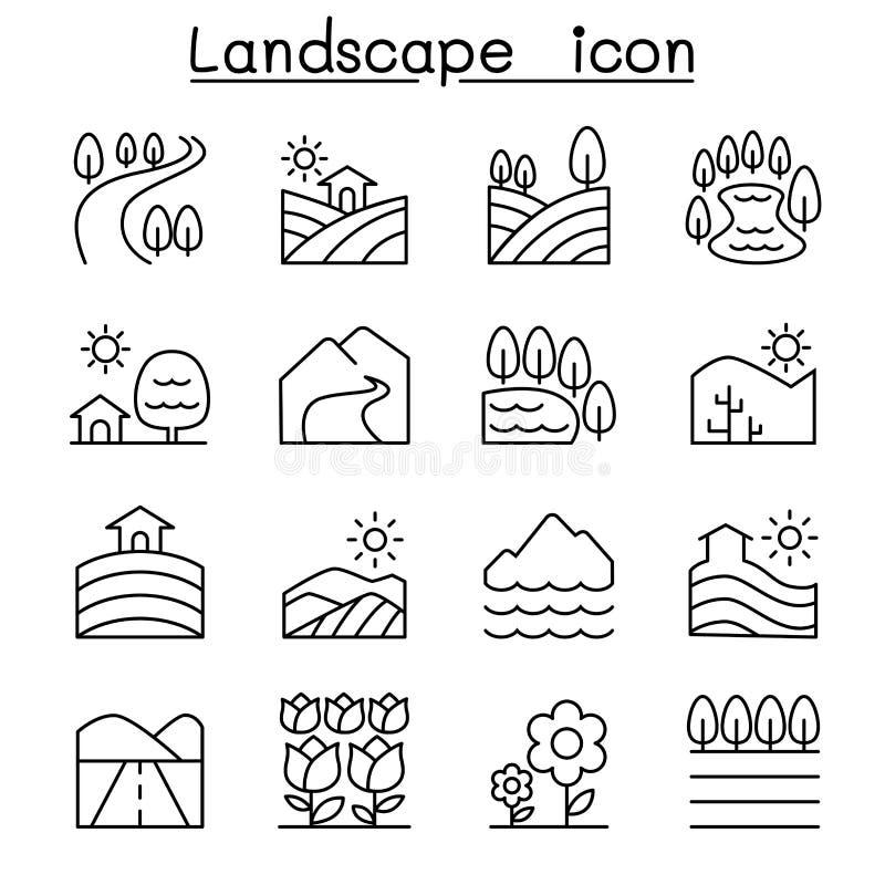 Landskapsymbolsuppsättning i den tunna linjen stil vektor illustrationer