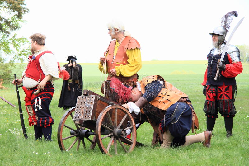 Landsknechts with machine-gun. Hord of landsknechts prepaired for shooting with machine-gun on meadow at Spring Landsknecht Camping at Bohdalov (Czech Republic stock photos