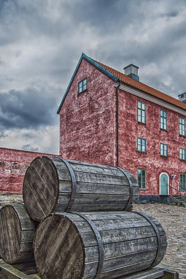 Landskrona Citadel with barrels. An image of the Landskrona citadel in the skane region of Sweden stock images