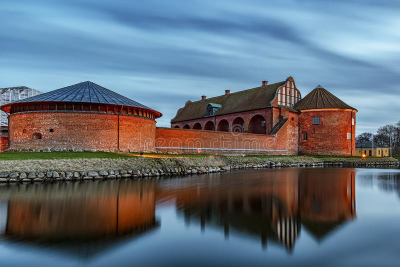 Landskrona Citadel at Dusk. After the sun has set, Landskrona citadel looks beautiful in the blue hour light royalty free stock photography